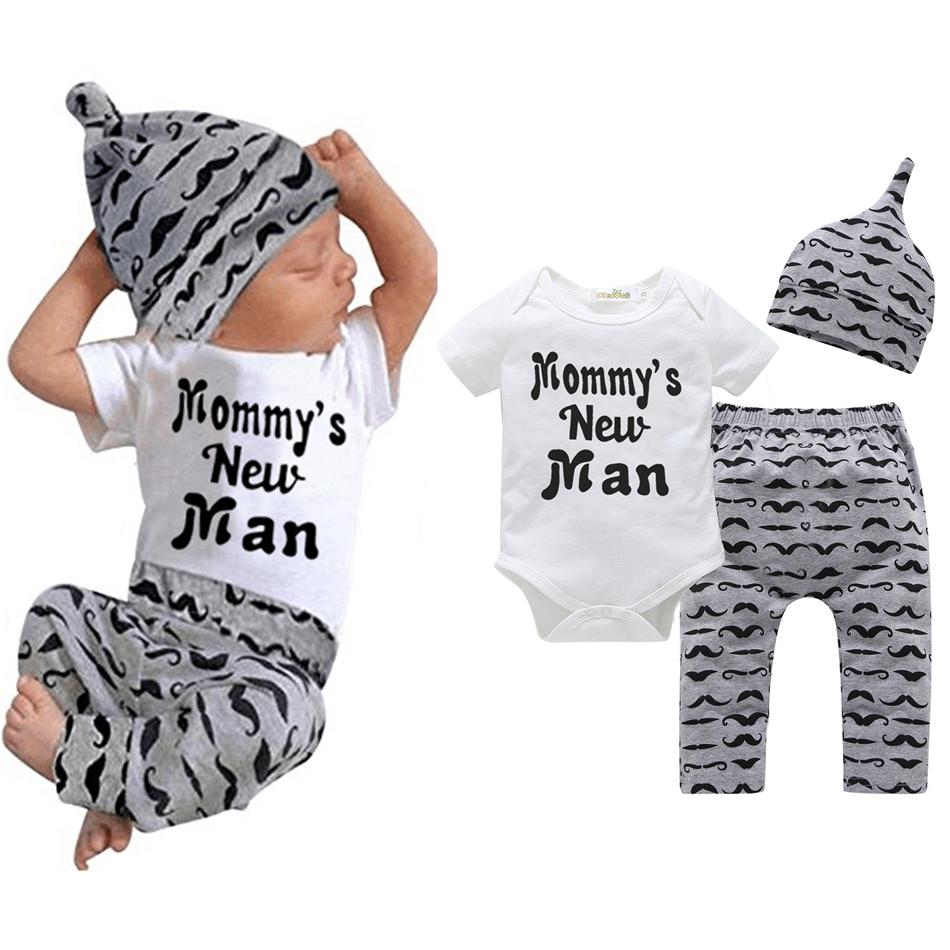 Newborn moustache Print clothing set Baby Boys Little Brother Romper Bodysuit and Pants Leggings with Hat Outfits Set suit LJJA3311-4