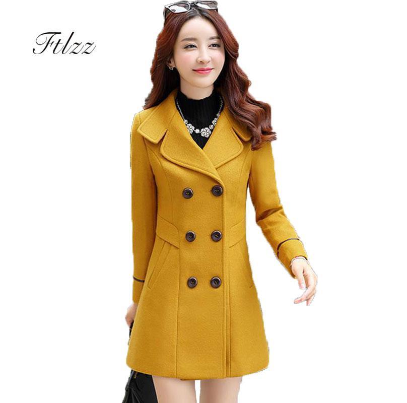 봄 가을 여성 Overcoat Slim Turn-dwon Collar 더블 브레스트 모직 코트 플러스 사이즈 울 코트