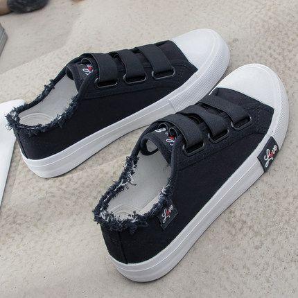 Zapatillas Zapatillas de lona para Mujer moda 2019 Sólido Superstar Hook Loop Vulcanize shoes Girls Zapatillas mujer