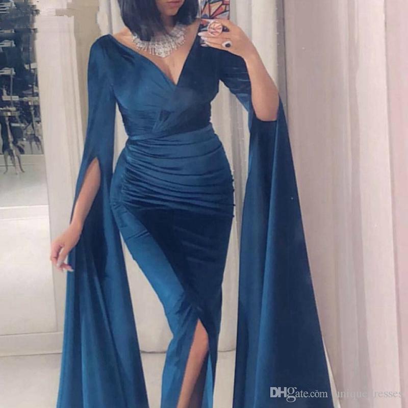 Velvet sirena eventi dei vestiti da sera 2020 con scollo a V Navy Blue maniche lunghe vestito dai musulmani robe de soiree abiti da ballo con spacco