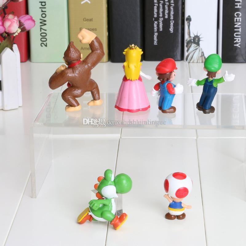 Super Mario Bros Luigi donkey kong Action Figures 6pcs//set youshi mario gift