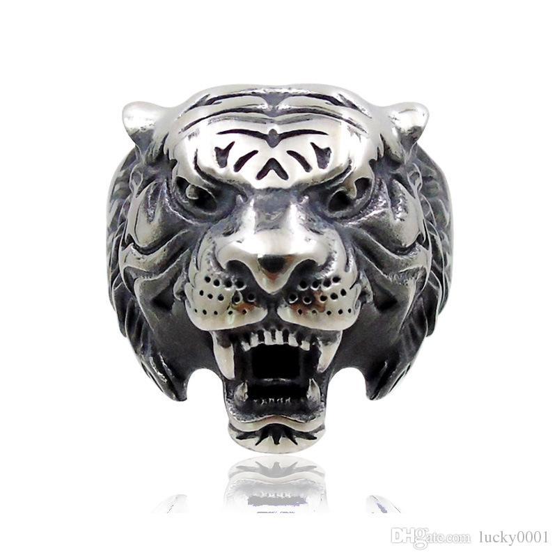Nova moda retro cabeça do tigre anel masculino animal criativo Do Zodíaco liga anel de moda dos homens anel de festa de jóias