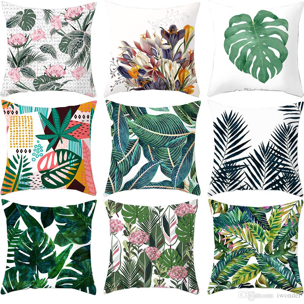 Phenomenal Watercolor Tropical Palm Leaf Flamingo Pink Flower Cushion Covers Green Leaves Pillow Cases 44X44Cm Sofa Chair Decoration Wicker Replacement Cushions Ocoug Best Dining Table And Chair Ideas Images Ocougorg