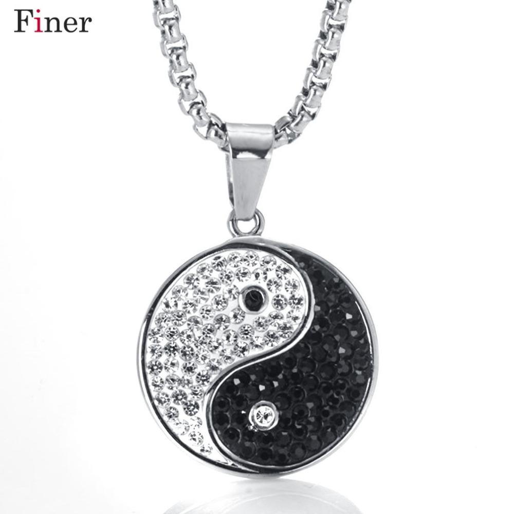 Acier inoxydable Style Chinois Yin Yang Nekclace Pendentif Pour Femmes strass Rond Noir Blanc Tai Chi Collier Chaîne Lien