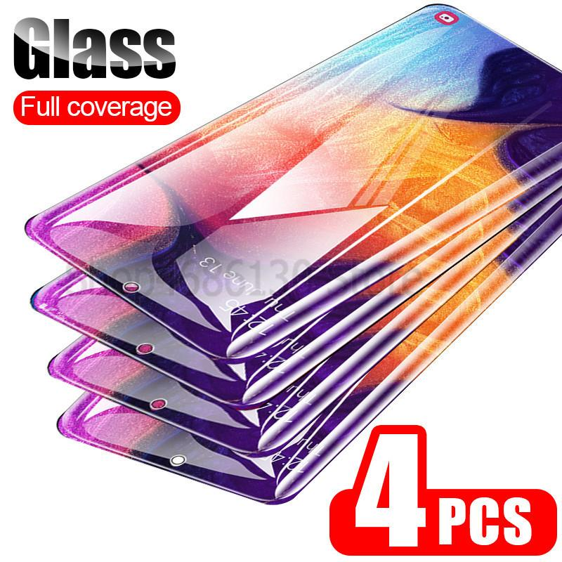 4PCS 9H خفف من الزجاج للحصول على سامسونج غالاكسي A50 A70 A40 A20 A30 A20E حامي الشاشة لسامسونج A60 A90 A10 M10 M20 M30 A9 زجاج