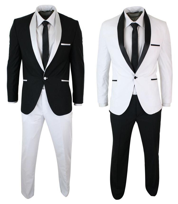 Simples Projeto Cor Preto Branco Casamento Padrinhos Ternos Com Xale Lapela Um Botão de Negócios Custom Made Back Vent Men Ternos (Jaqueta + Calça)
