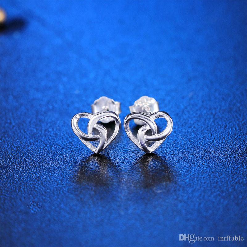 Orecchini semplici per le donne 925 cave cuore dolce festa di nozze Fine Jewelry Brincos gioielli