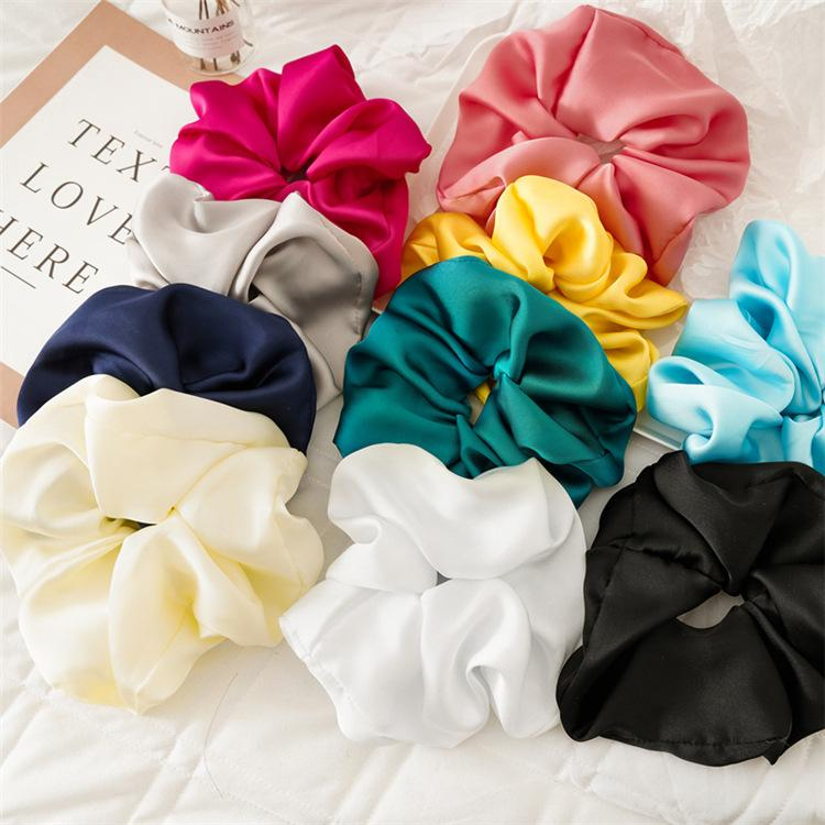 large size satin Women hair scrunchies French grace Smooth Silk Big Size Bobble Hair band Scrunch High Quality