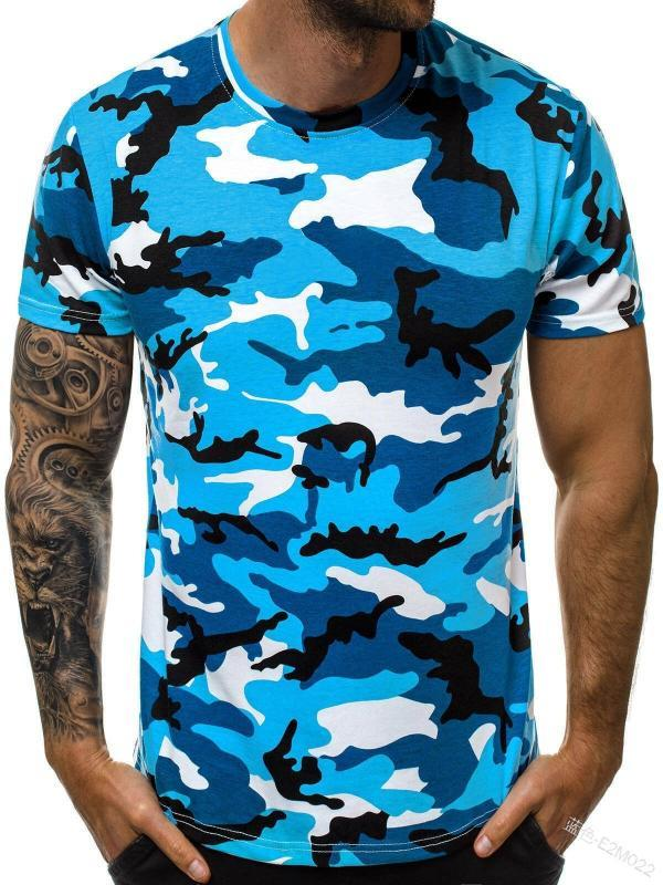 2020 New Style Men Sports Quick-drying T-shirt Camouflage Printed Short-sleeved Top