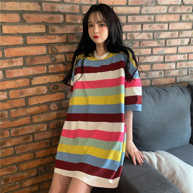 2020 Summer Short Sleeve T-shirt Women's Loose-Fit Rainbow Stripes Candy-Colored Stripes Women Shirts