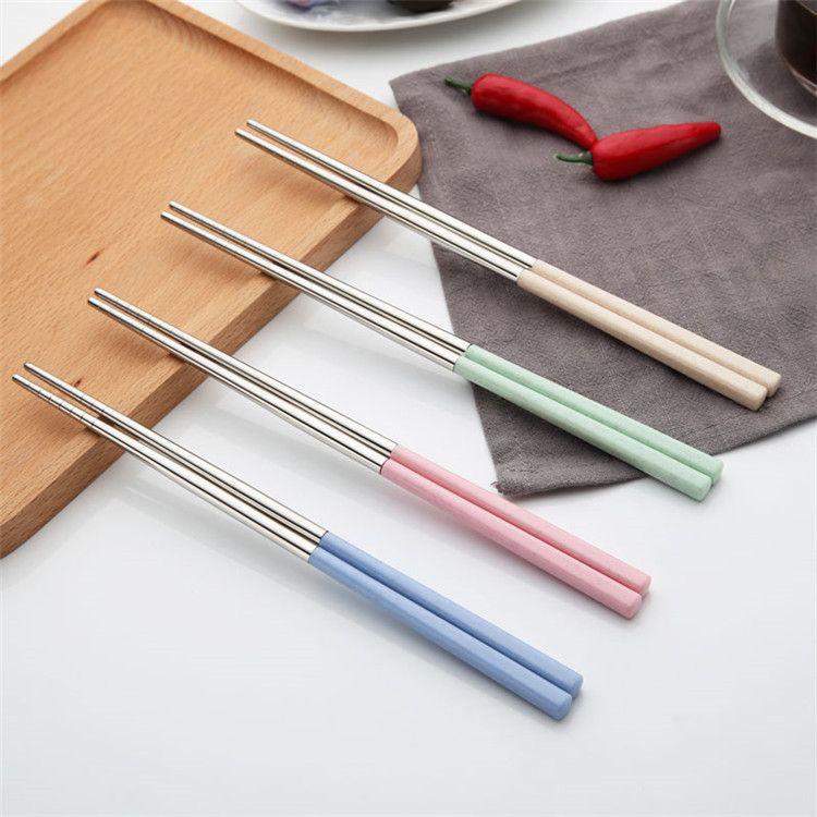 Eco-Friendly prata Chopsticks aço inoxidável 304 com alça de palha de trigo Plastic 4 cores chinês Chopsticks Atacado