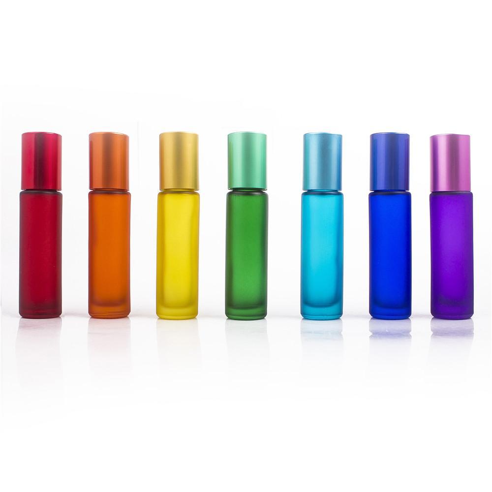 10 ملليلتر المحمولة بلوري الزجاج الأسطوانة rollerball الضروري النفط العطور زجاجات ضباب حاوية السفر إعادة الملء زجاجة ملونة