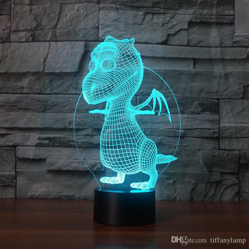 Criativa Desk Lamp Lamp Noite New Dinosaur Lampe 3d Acrílico Atmosfera Luminaria Visual Stereo lâmpada de cabeceira