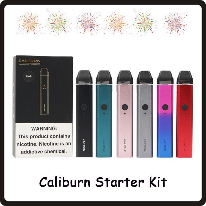 Starter kit per sistema POD portatile CALIBURN 11W 520mah incorporato con kit per svapo pulsante attivato cartuccia da 2 ml