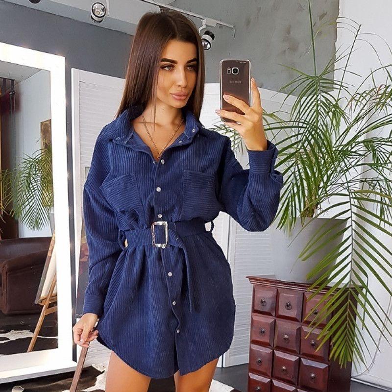 النساء في فصل الشتاء حزام مستقيم اللباس البسيطة السيدات كم طويل اخفض الياقة حزب اللباس 2019 الصلبة أزياء خمر اللباس T200318
