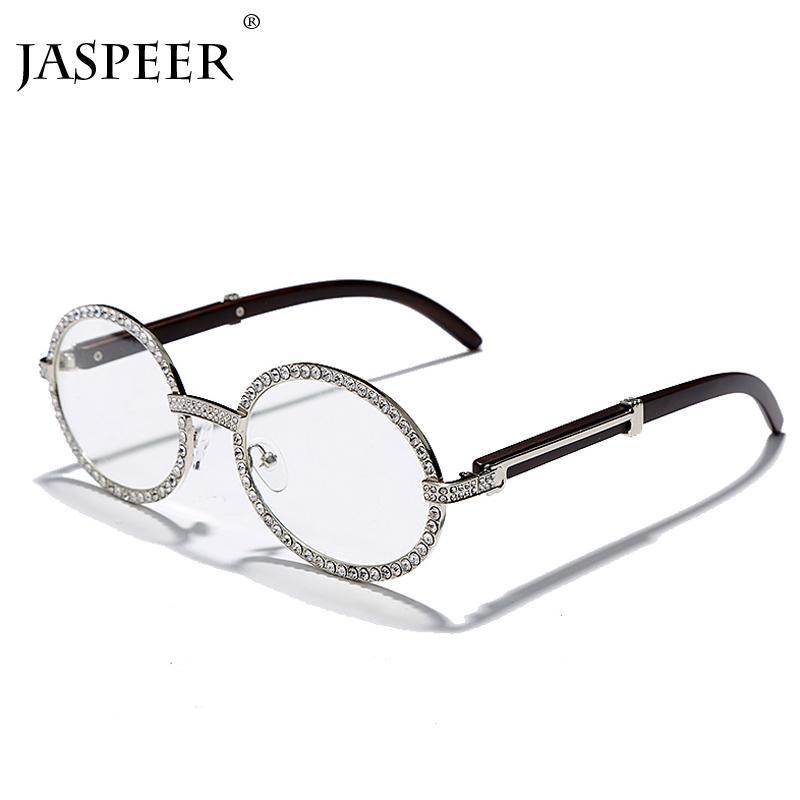 JASPEER Diamant-Weinlese Runde Sonnenbrille Frauen Luxus Oval Sonnenbrillen Herren Strass Steampunk Marke Designer Brillen