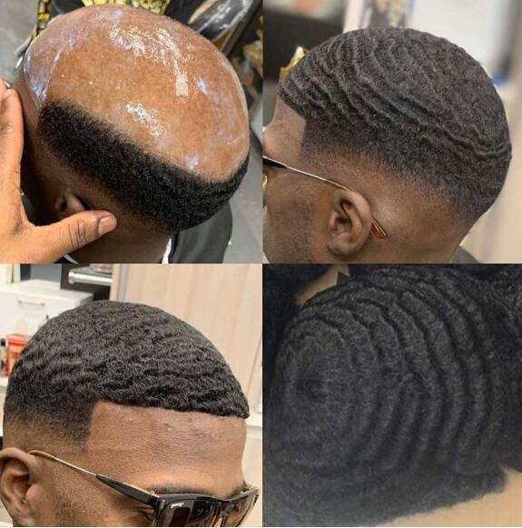 Celebrity Toupeee Hommes Perruque Hommes Hommes Critiches 10mm Vague Full Dentelle Toupée Noir 1B Vierge Indien Vierge Cheveux Hommes Hommes Remplacement des cheveux pour hommes noirs