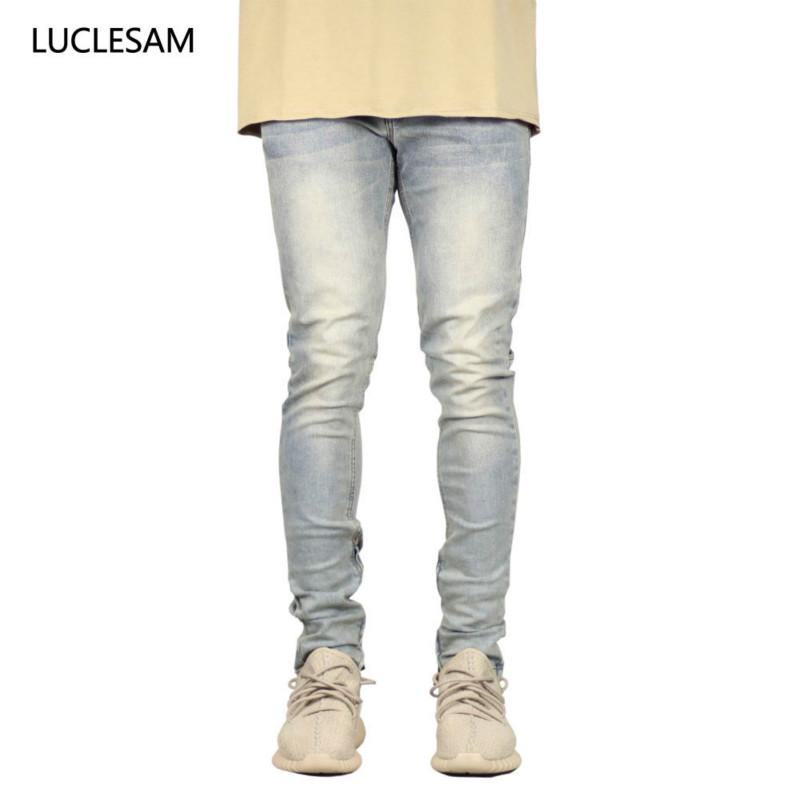 Skinny Jeans Hommes Pantalons Streetwear Casual Pantalons Slim Fit Crayon Pantalon en denim avec Zipper taille Moyen Hommes Hip Hop Jeans Biker