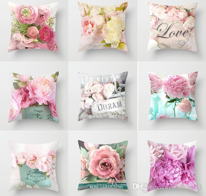 "Pink Rose Printed Cushion Cover Throw Pillow Case Sofa Home Décor 12/""-24/"""