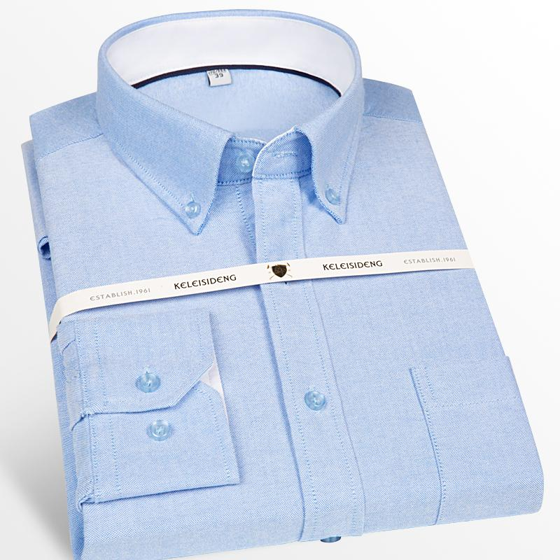 Men's Oxford Long Sleeve Button Down Casual Dress Shirt Patch Chest Pocket Classic Standard-Fit Cotton Thick Shirts N1855