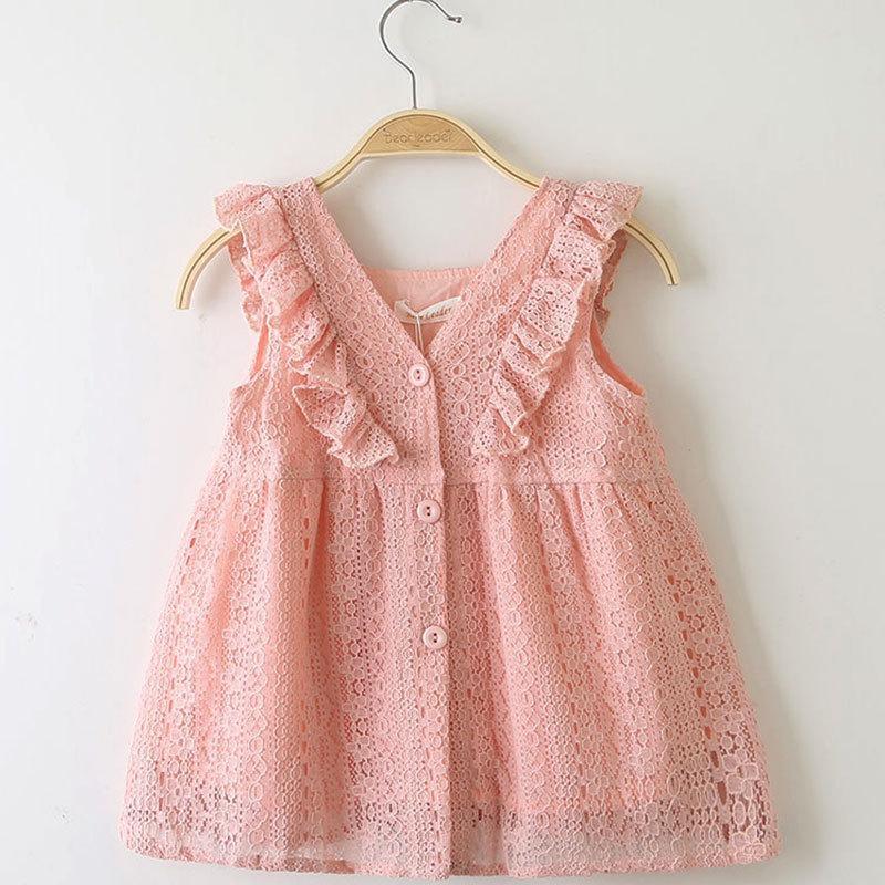 Children's Dress Summer Girl Princess Skirt Lace Lotus Leaf Edge Button Baby Skirt Dress Princess Skirt kids boutiques clothing