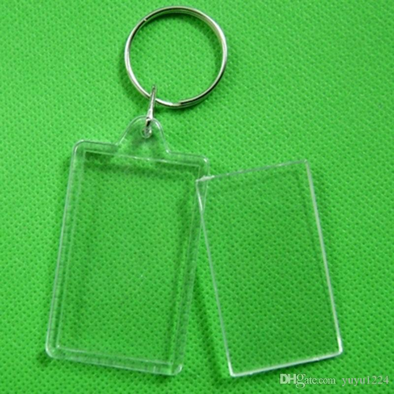 5X Clear Acrylic Blank Photo Picture Frame Key Ring Keychain Keyring Gift lov rt
