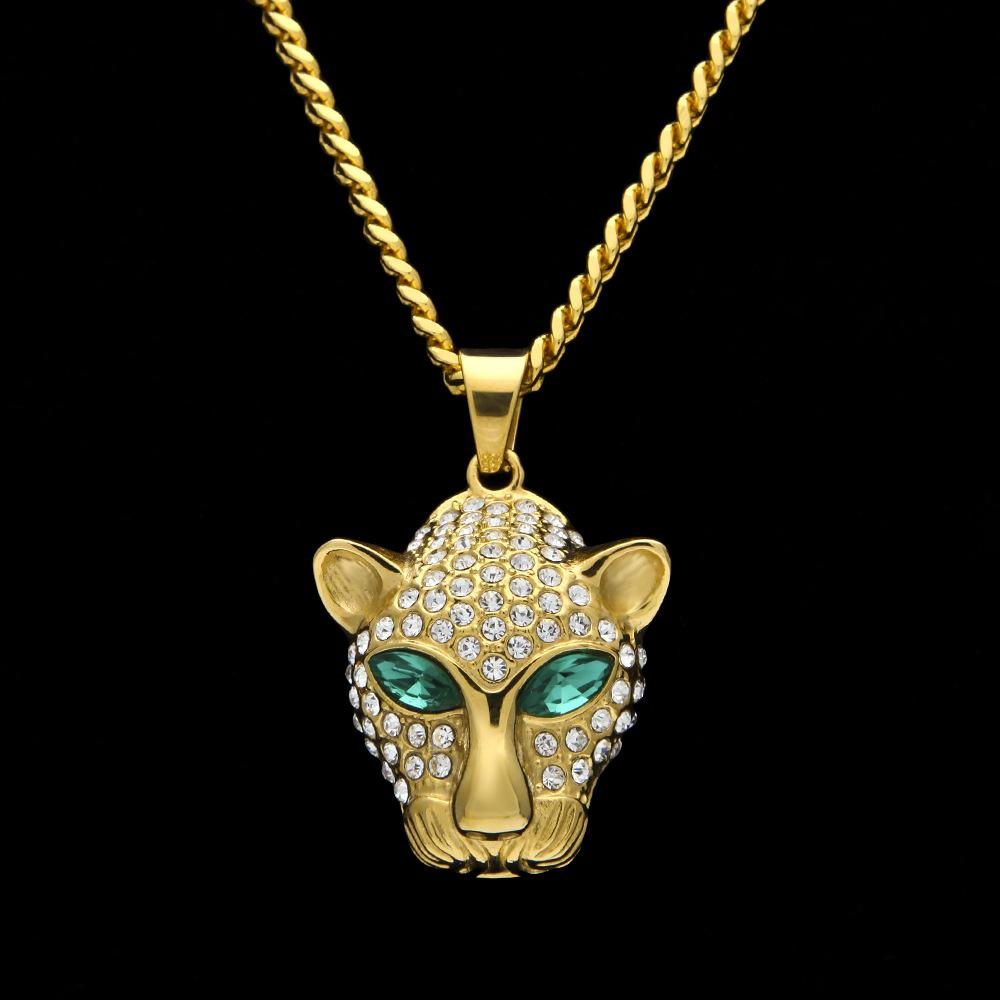 New Fashion Hip Hop Mens Gold Plated Bling Green Diamond Eyes Leopard Cuban Chain Necklace Cartoon Animal Pendant Jewelry for Guys for Sale