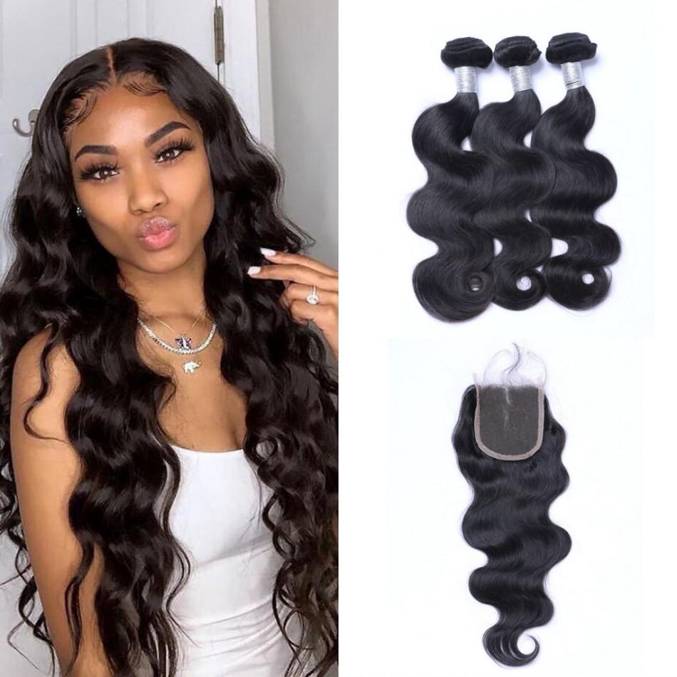 Brazilian Human Hair Bundles with Closure 8-24 inch High Quality Body Wave Hair Weaves 3 Bundles with Closure