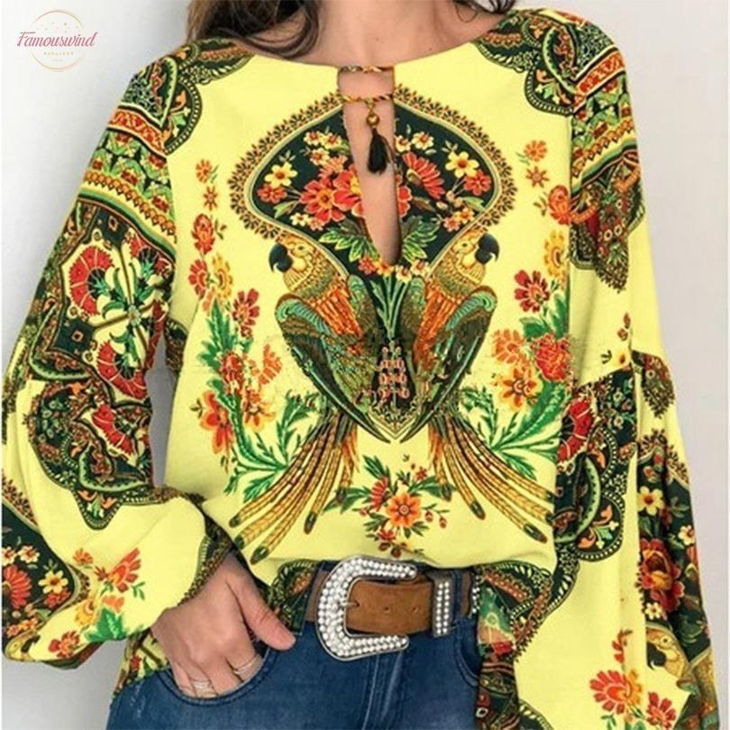 2020 bohemia de las mujeres más el tamaño de ropa camisa de la blusa floral de la vendimia impresión tapas de las señoras S Blusas Casual Blusa Femenina