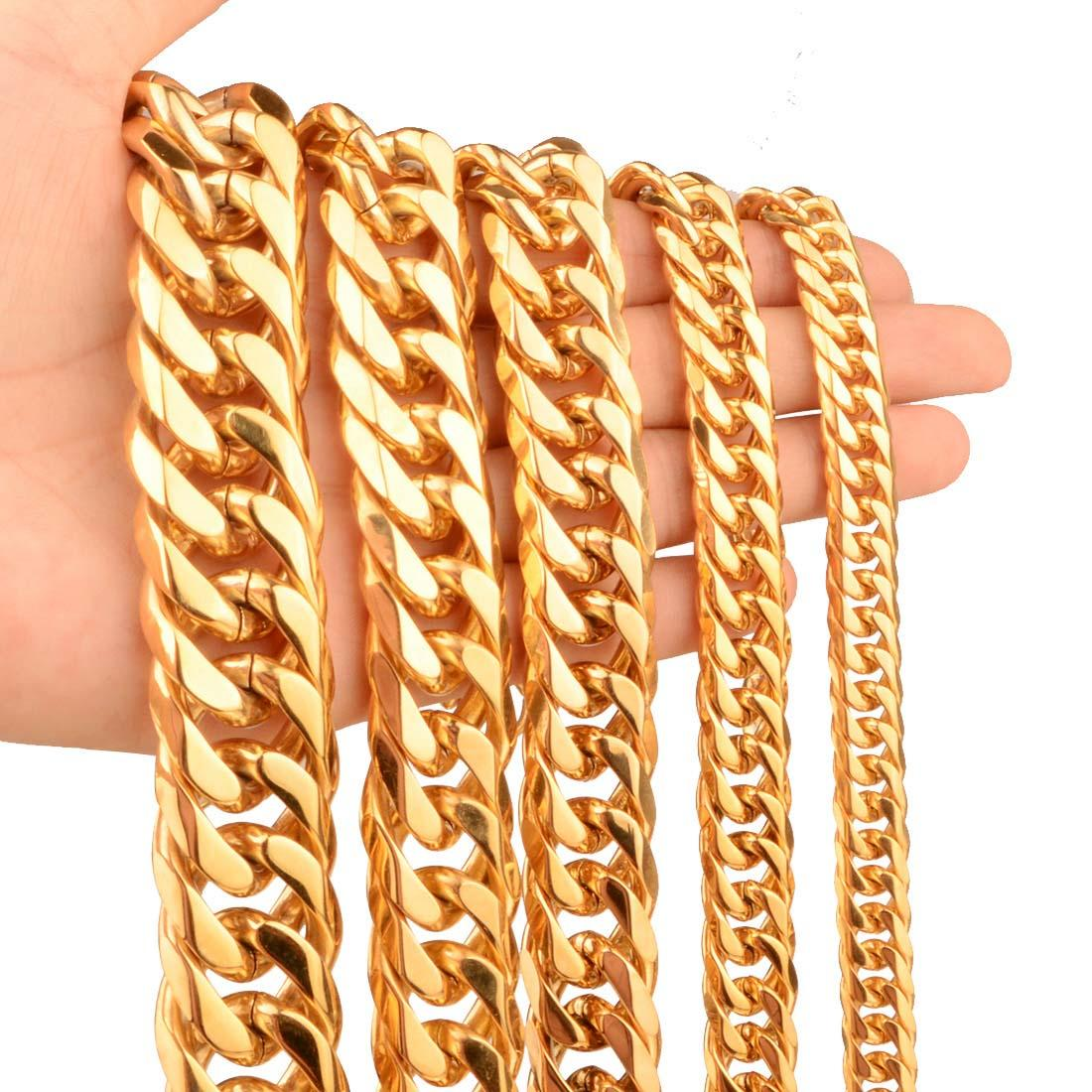 Männer Frauen Hip Hop goldene Ketten 316L Edelstahl 6 Seiten hoch polierten 18K Gold überzieht Hip Hop Halsketten-Punkschmucksache-9mm-21mm Breite