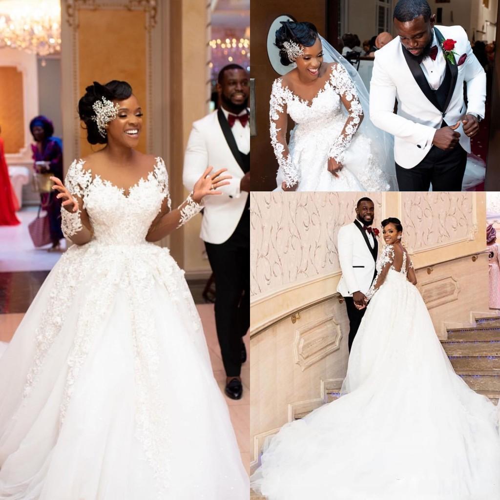 2020 elegante afrikanische A-Linie Brautkleider Spitze Appliqued wulstige lange Ärmel Brautkleider Vestidos Plus Size