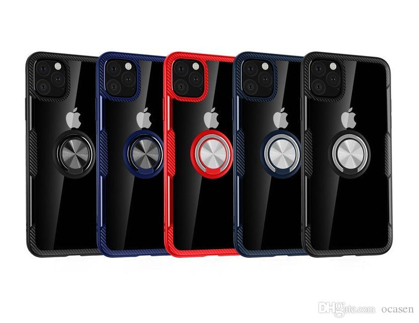 Acrílico PC TPU Luxo Carbon Fiber Defender iPhone Capa Para 11 Pro Max XR XS MAX Nota Titular 10 anel de metal suporte do carro