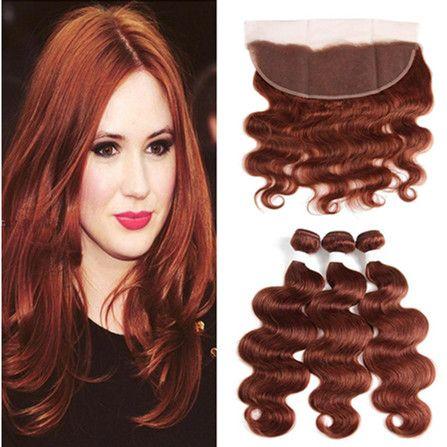 # 33 Dark Auburn Human Hair Wiązki z pełnymi frontami Ciało Fala Brazylijski Brown Brown 13x4 Koronki Zamknięcie czołowe z 3 wiązkami