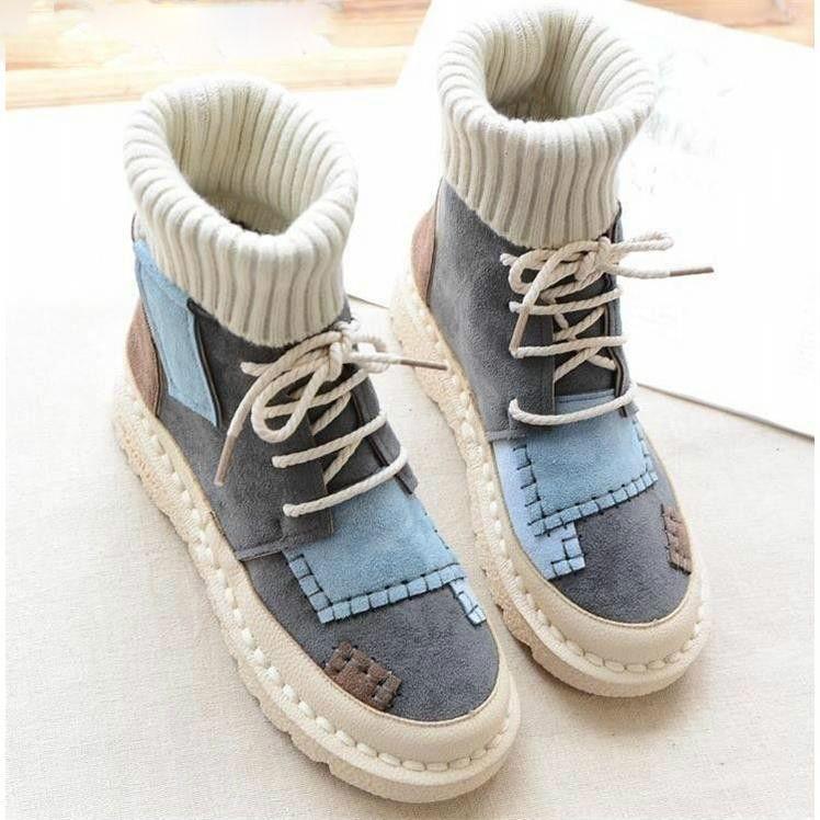 Botas altas de otoño e invierno para mujer Nubuck Plus Velvet Cálido Zapatillas de deporte informales con punta redonda Botas planas para estudiantes con cordones