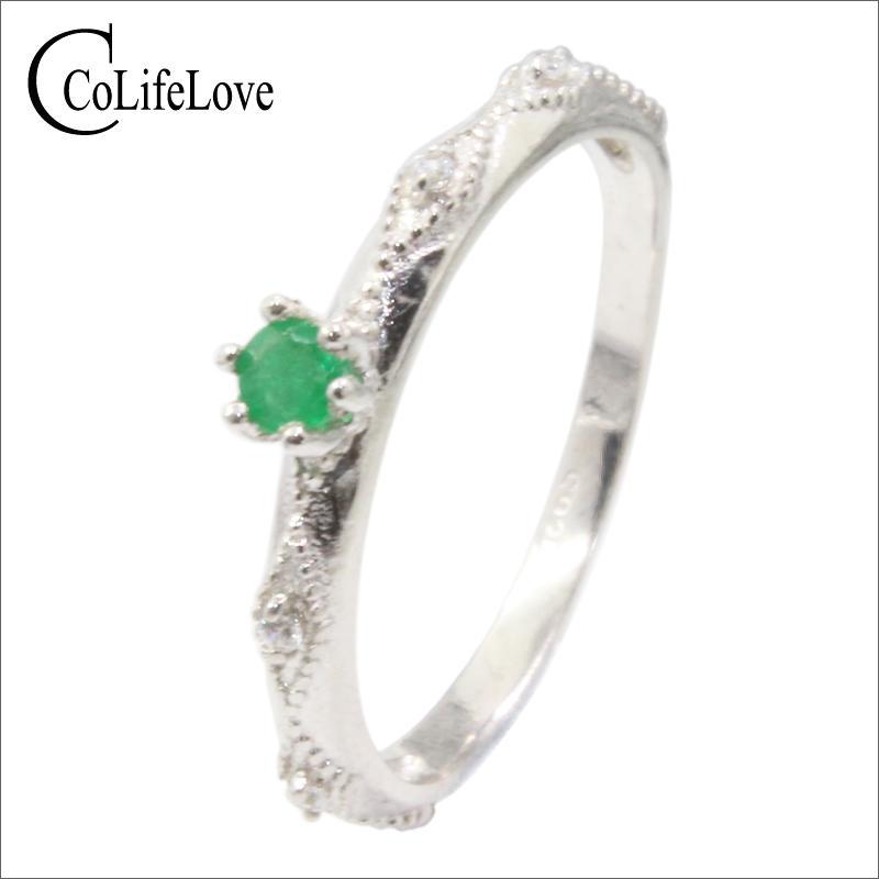 Elegante anillo de plata esmeralda 925 3 mm Anillo de plata esmeralda de grado SI natural Joyería de esmeralda de plata esterlina Regalo romántico para niña