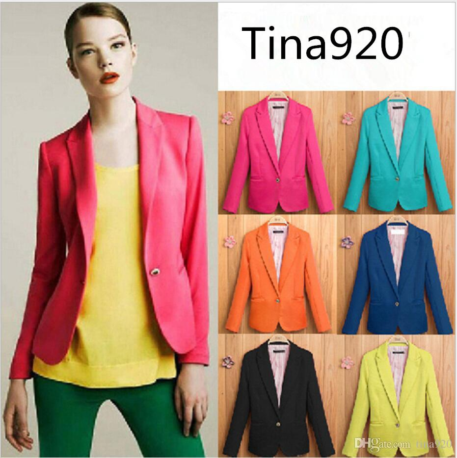 XS to XXL NEW 2019 spring autumn blazer women suit foldable brand jacket made of cotton & spandex Ladies refresh blazers Candy Color