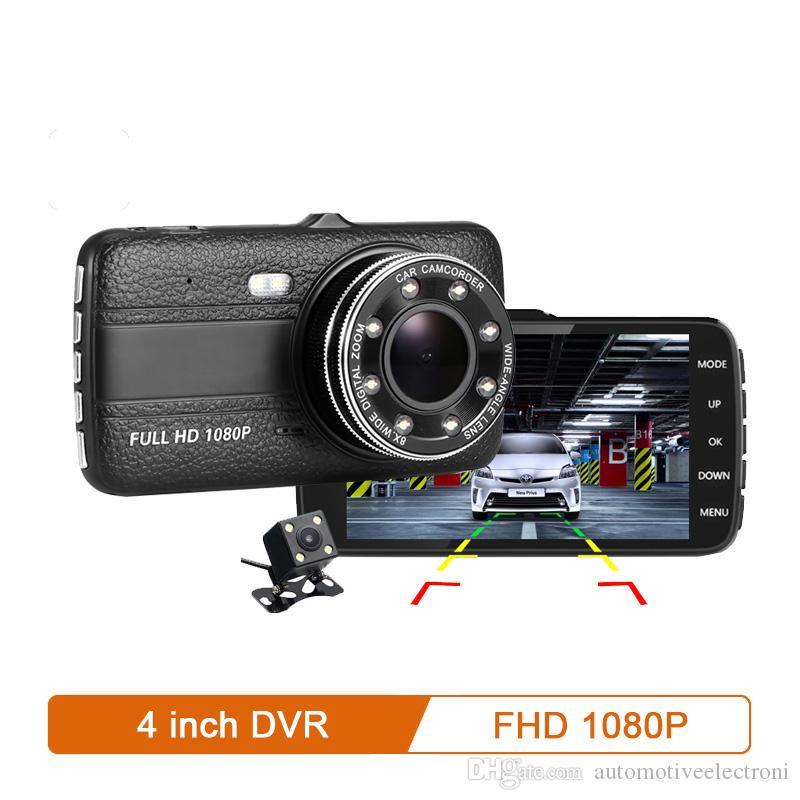 """سيارة دفر كاميرا 4.0 """"1080p HD كامل داش كام السيارات ريجيتور المزدوج عدسة للرؤية الليلية مع مسجل فيديو كاميرا الرؤية الخلفية"""