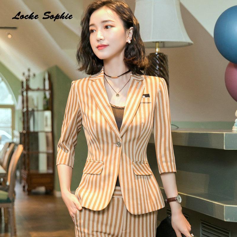 1pcs femmes Blazers manteaux 2019 coton d'été Splicing stripe petits costumes vestes dames maigre bureau blazers costumes costumes manteaux filles