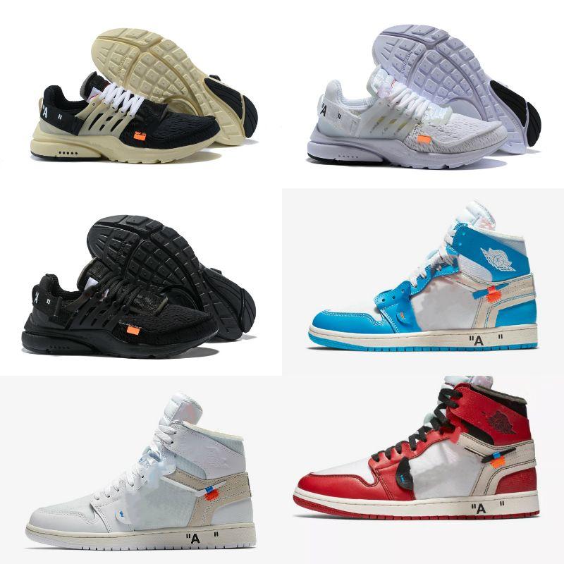 2019 white air jordan Retro off Jordans Nike Chicago Baloncesto Retroes baratos Bred dedo del pie UNC Azul Blanco Hombres Mujeres Presto V2 Trainer zapatos de diseño Deportes