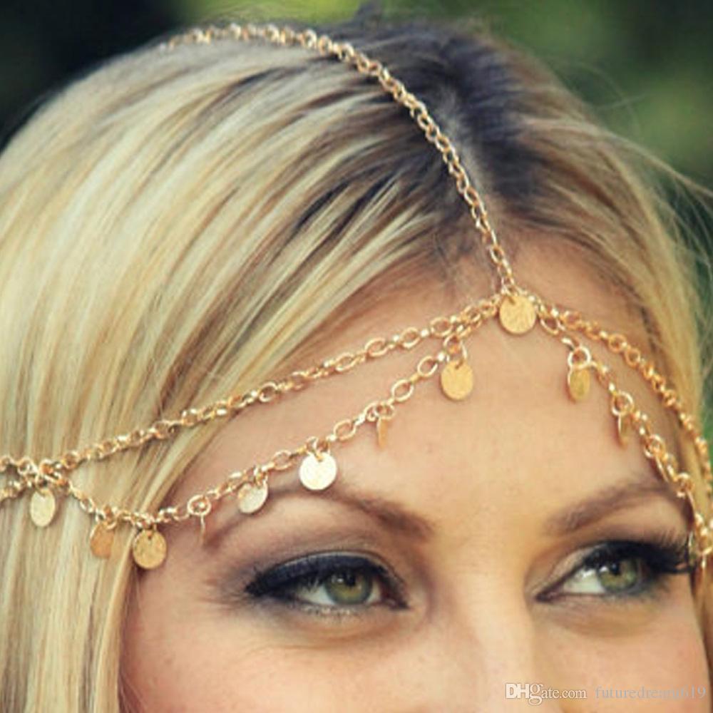 Metallic Circle Sequins Wavy Fringed Chain Headband Hair Accessory Elegant Wedding Head Piece Hair Accessories Bridal Hair Jewelry