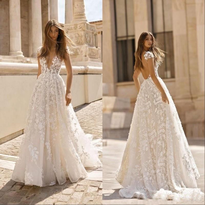 Apliques de encaje bohemio vintage 2020 Vestidos de novia Cuello en V profundo Sin espalda Manga corta Vestidos de novia Vestido de novia Boho