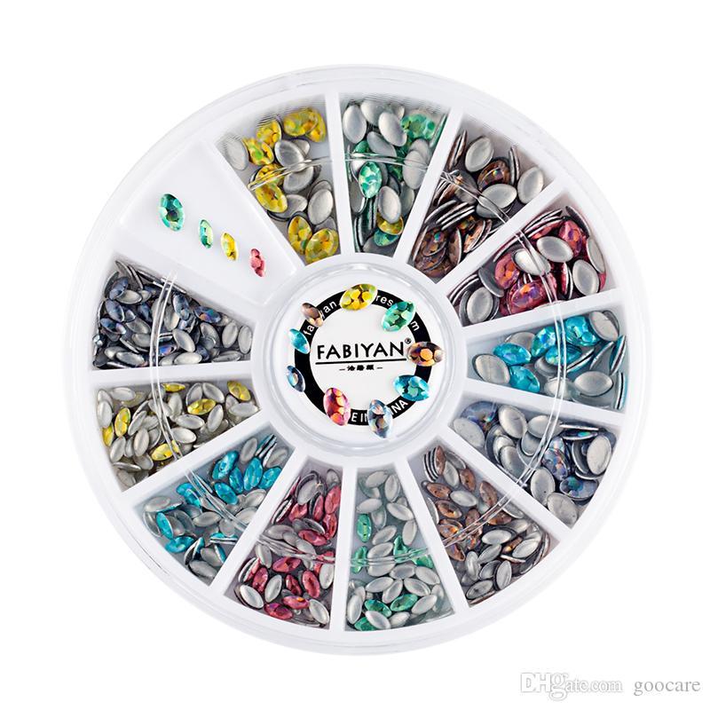 Nail Art Wheel AB Rhinestones Crystal Glitter Acrylic Multicolor Oval Mix Sizes 3D Stickers DIY Design Decoration Manicure Tools