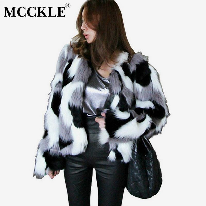MCCKLE 여성 혼합 색상 가짜 모피 자 켓 2018 가을 겨울 패션 따뜻한 모피 짧은 코트 여성 캐주얼 코트 Outwear 플러스 크기