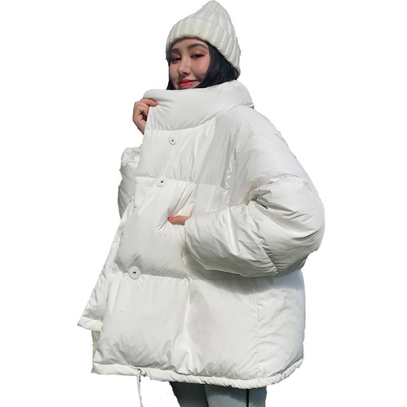 Korean Style 2019 Winter Jacket Women Stand Collar Solid Black White Female Down Coat Loose Oversized Womens Short Parka SH190930