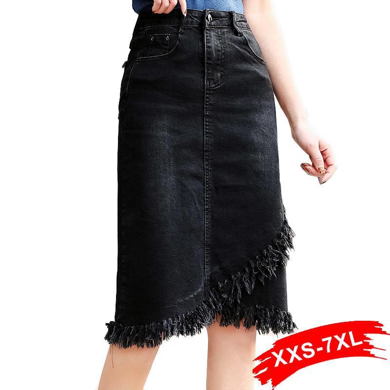 Artı Boyutu Püskül Hem Wrap Üst üste Siyah Bodycon Denim Etekler 3xl 5xl 7xl Bahar Kadınlar Ofis Lady Workwear Midi Kot Etekler Y19043002