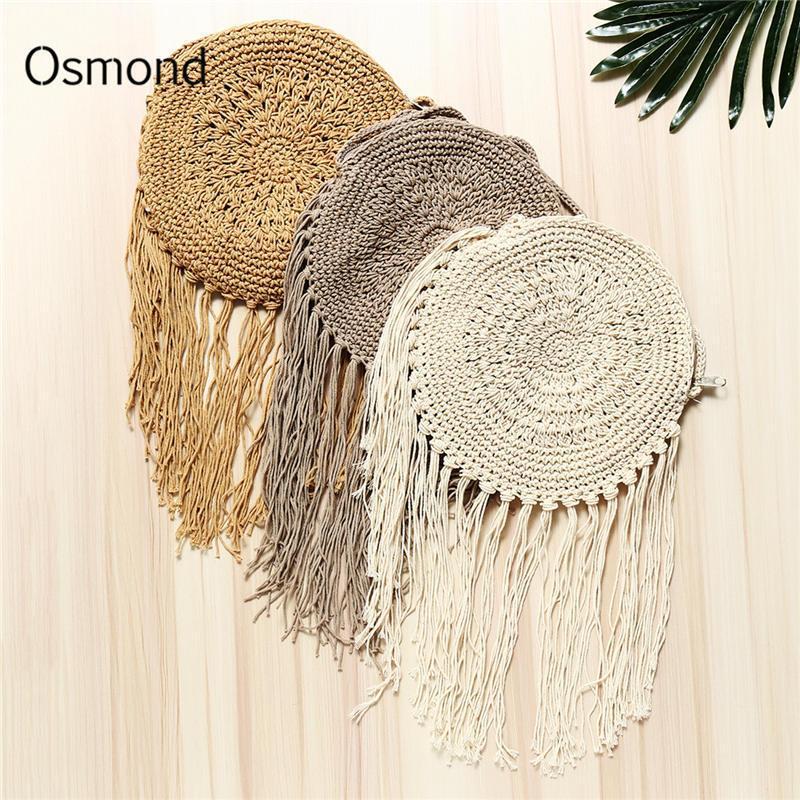 Osmond verano mujeres bolsa de paja de ratán Corss cuerpo bohemio playa bolsa hecha a mano de punto de ganchillo trenza con flecos borla bolsa de hombro Y190704