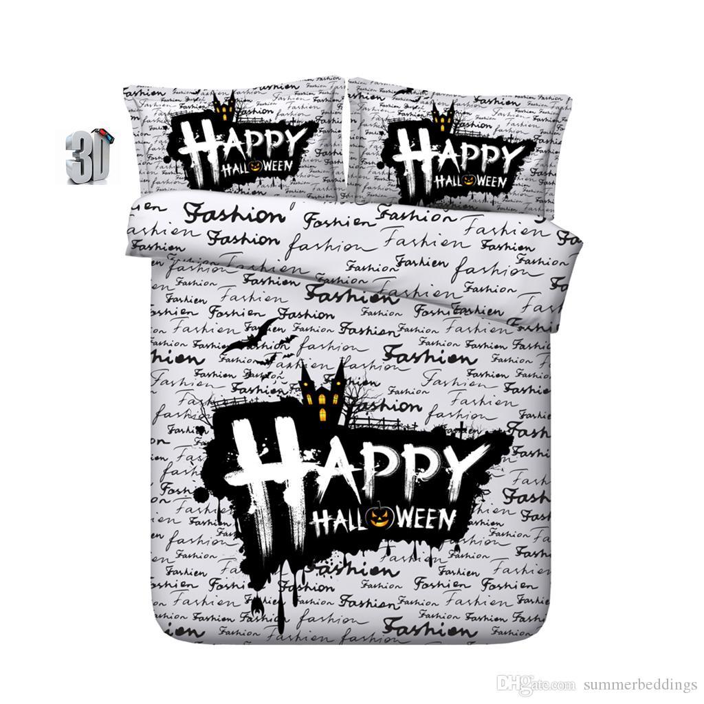 150x200CM 3PCS 3D Halloween alphabet Print Duvet Cover Set Bedding with pillowcase, Microfiber Quilt Cover, Zipper Closure, NO Comforter
