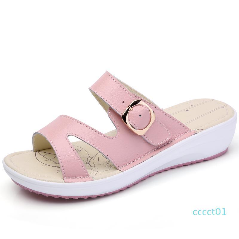 O16U mulheres Sapatas das sandálias de couro liso sandálias salto baixo mulheres Cunhas Verão Abrir Toe Plataforma Sandálias senhoras gladiador CT01