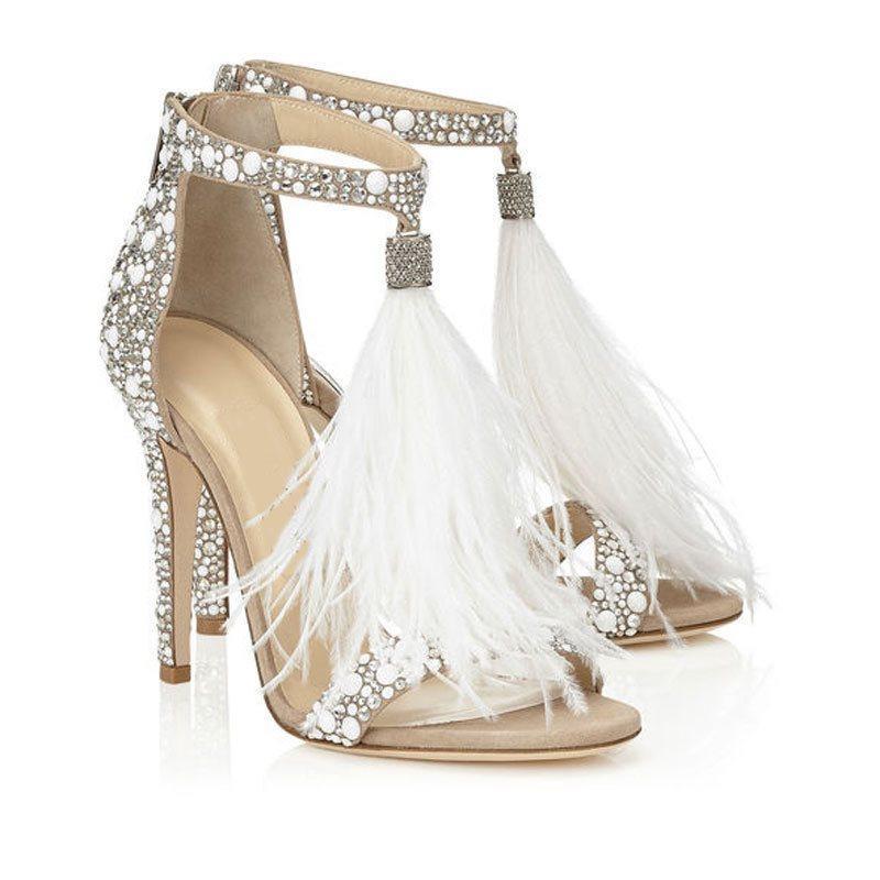 Superbe perles plumes Glands talons de mariage 10 CM ouvert Toe Prom Soirée Chaussures de mariée Hauts talons Lady Robe formelle talon aiguille