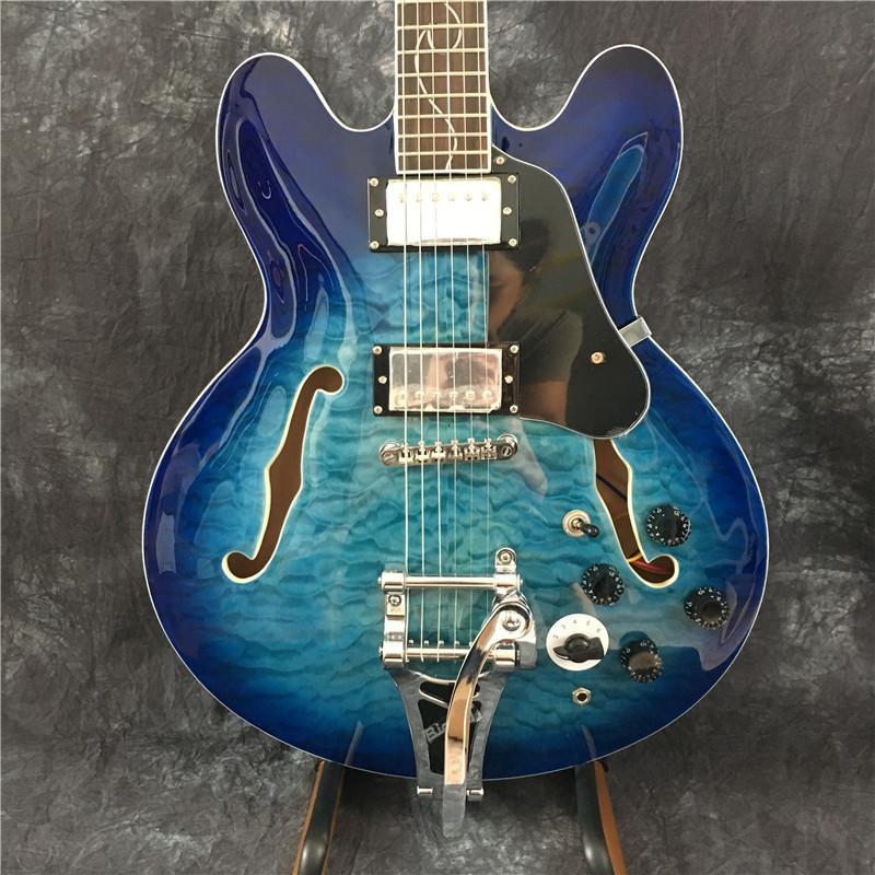 Miglior chitarra elettrica, 335 chitarra jazz, chitarra mezza corpo cavo con tremolo, top in acero fiammato, hardware dorato, trasporto libero